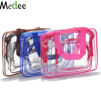 Medee 2017 Transparent PVC Cosmetic Bag 3pc Sets Travel Toiletry Bag Woman Bolso Cosmetico Cosmetiquera Mujer