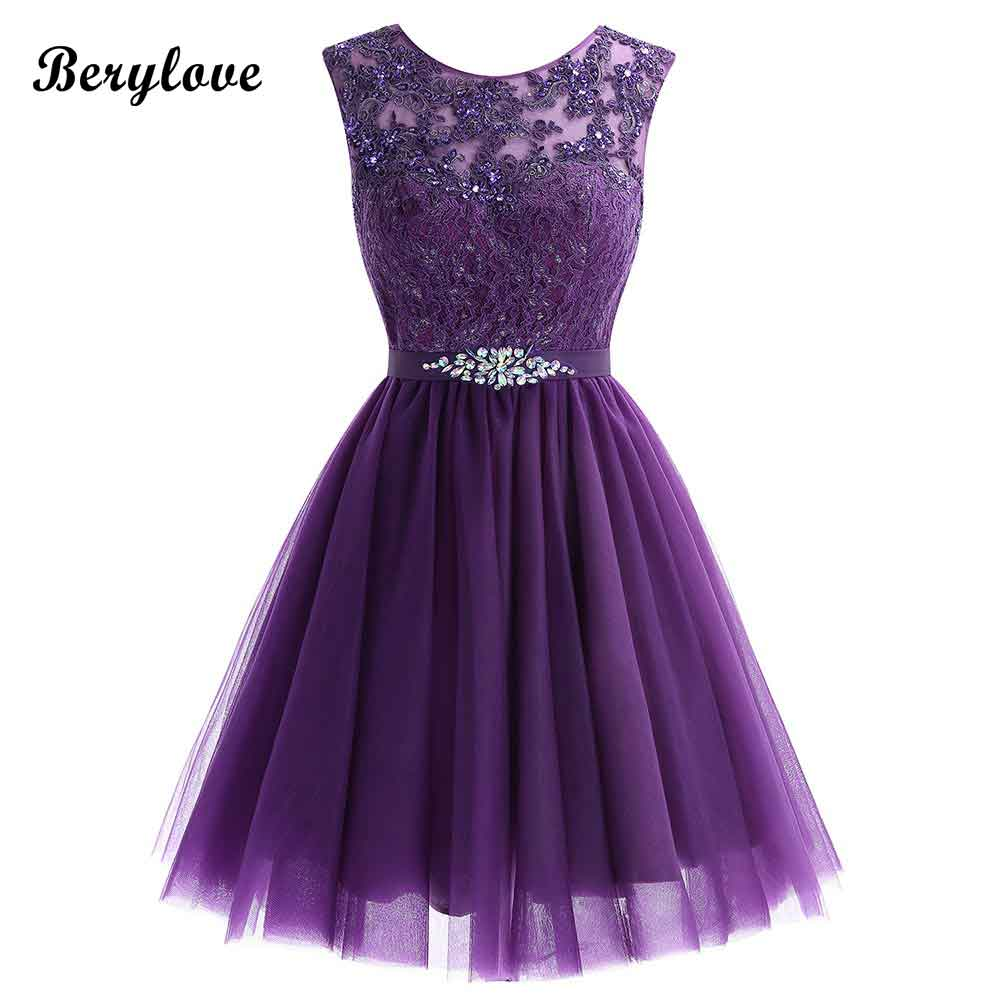 0552985fcf34 Cute Short Purple Homecoming Dresses 2018 Mini Beaded Lace Homecoming Dress  Tulle Homecoming Gowns Cheap Graduation Dresses