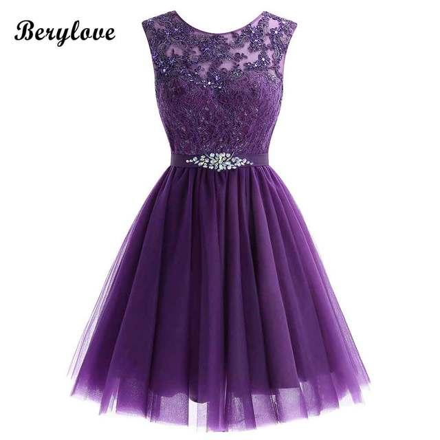 f0724e9245 Cute Short Purple Homecoming Dresses 2018 Mini Beaded Lace Homecoming Dress  Tulle Homecoming Gowns Cheap Graduation