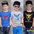 2016 Meninos Do Bebê Kid Tops T-Shirt do Verão Camisa de Manga Curta T Camisa Dos Desenhos Animados Da Moda Tops Venda Quente Pokemon Ir