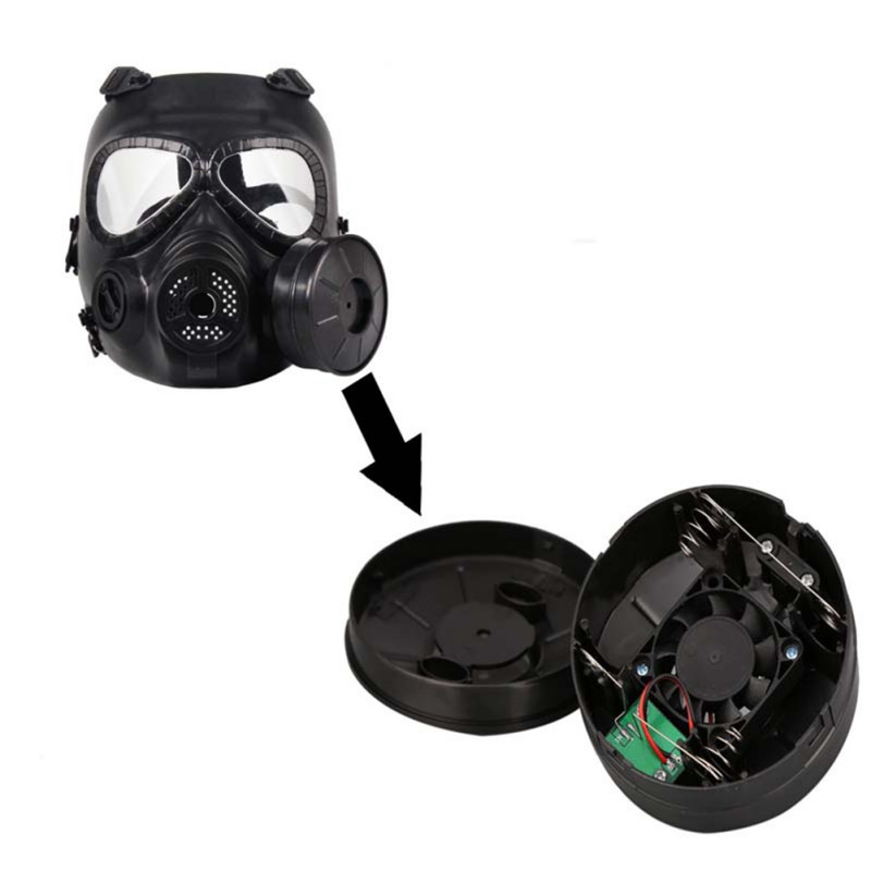 Airsoft Double Filter Gas Mask Accessories CS Paintball Military Tactical Army Perspiration Face Guard Mask With Fan