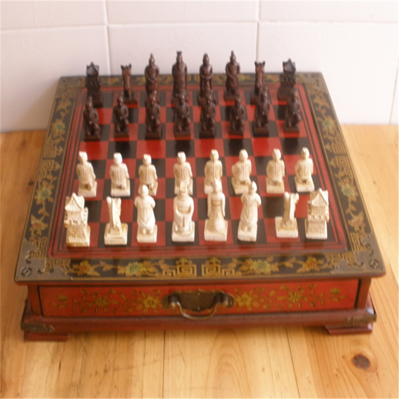 1set Hot Collectibles Vintage Chinese Terracotta Warriors 32 Chess Set Leather Wood Box Flower Bird Table