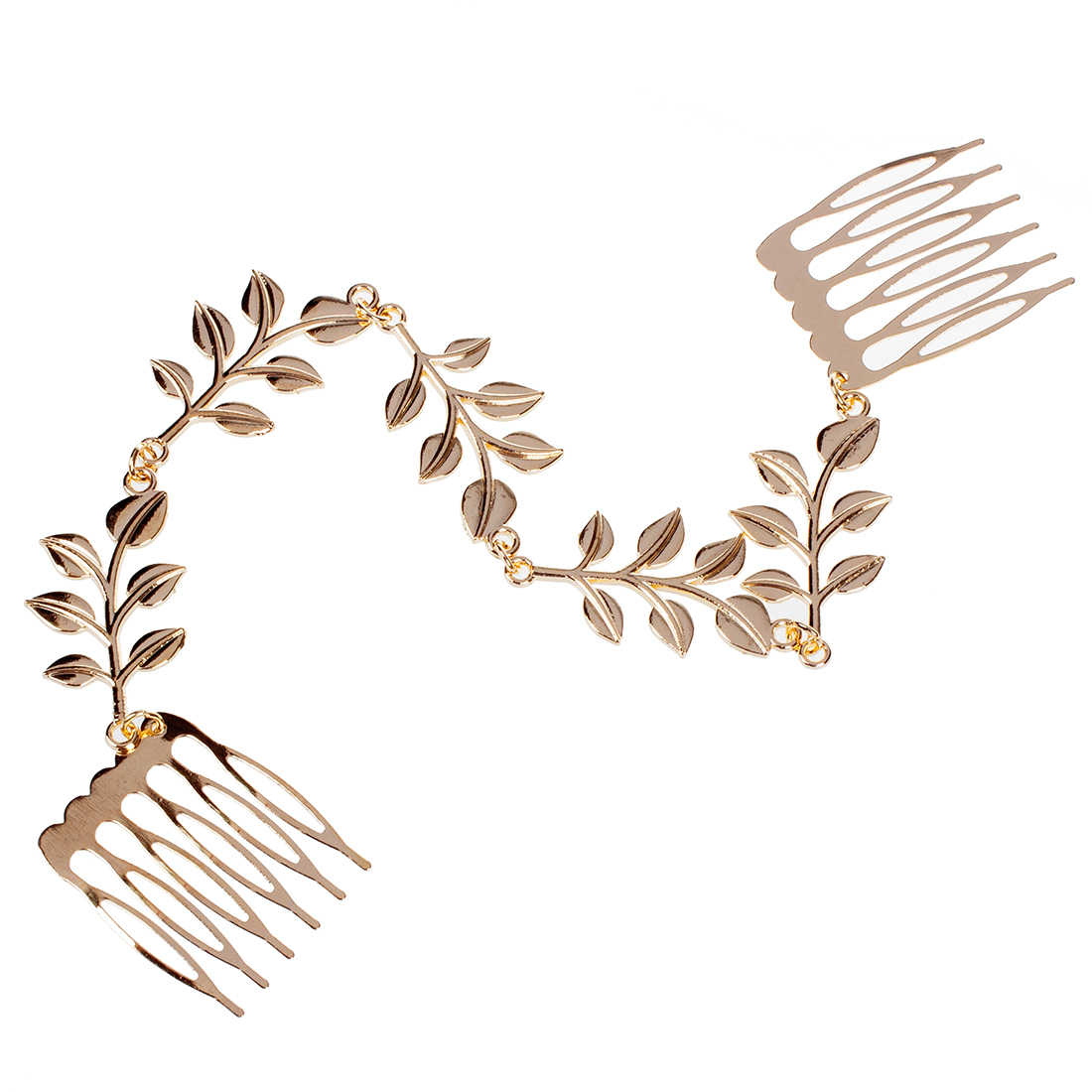 Womens Gold Tone Leaves Chain Fringe Hair Comb Cuff Head Band
