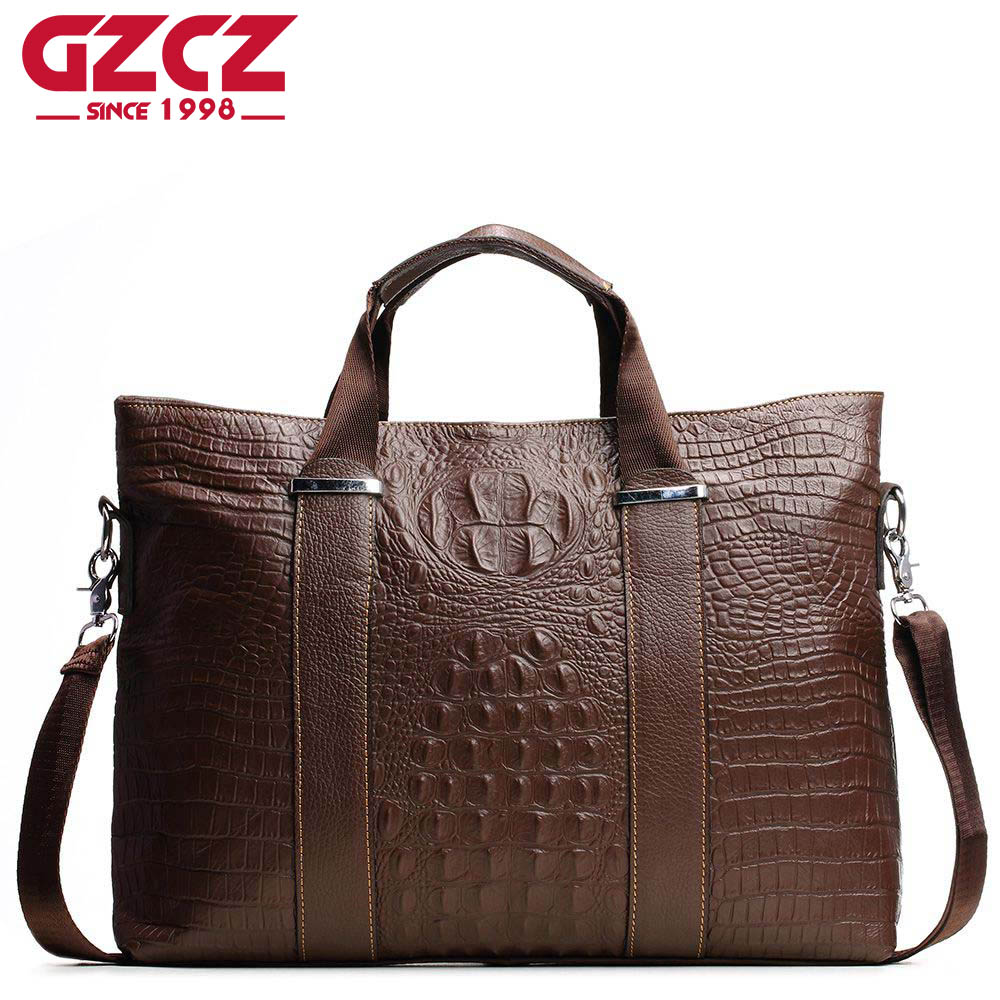 GZCZ Crocodile Men Bags Mens Genuine Cowhide Leather Men's Casual Totes Shoulder Bag Fashion Designer Male Business Briefcase luxury genuine leather bag fashion brand designer women handbag cowhide leather shoulder composite bag casual totes