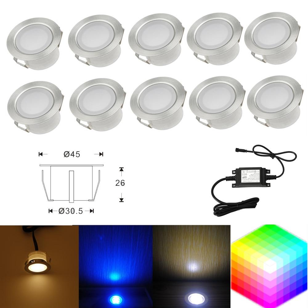 Led Underground Lamps Led Lamps 10pcs/set 45mm Outdoor Garden Landscape Stair Pathway Kickboard Recessed 12v Kitchen Led Deck Rail Step Soffit Lights Be Novel In Design