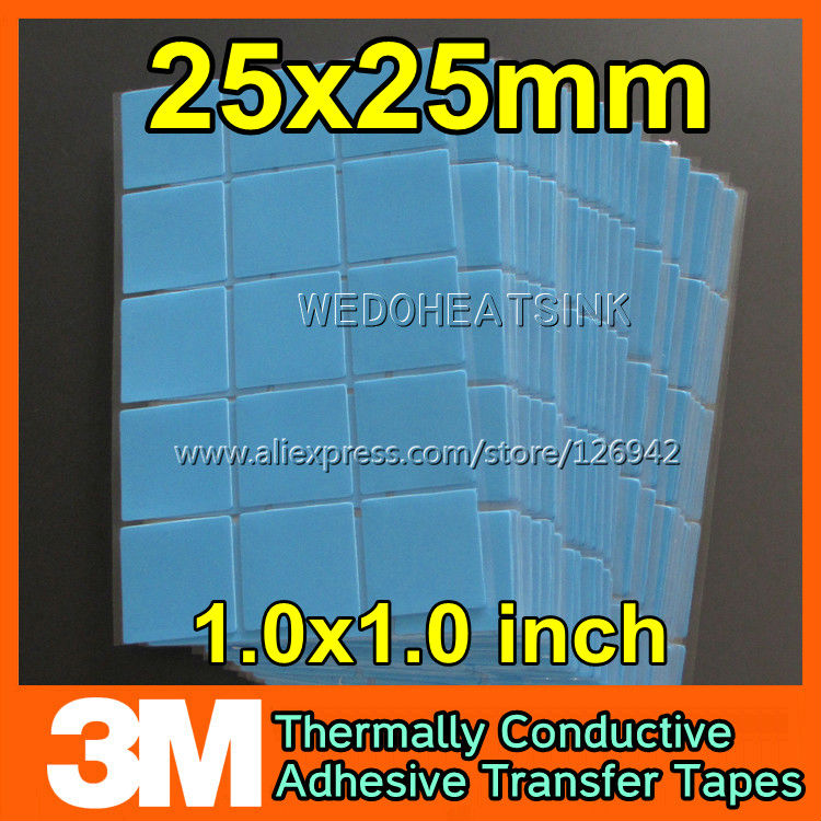 Free Shipping 200Pcs/Lot 3M 8810 25*25mm Blue Thermal Pads For Heatsink Radiator LED Heatsink 5pcs lot pure copper broken groove memory mos radiator fin raspberry pi chip notebook radiator 14 14 4 0mm copper heatsink
