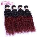 Brazilian virgin hair kinky curly 4 bundles ombre hair extensions 1B/99J burgundy  on mix soft  HANNE hair 6A brazilian hair