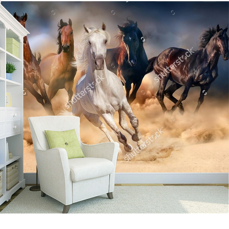Custom natural scenery wallpaper,Horses run in the desert,3D photo mural for living room restaurant background wall wallpaper custom baby wallpaper snow white and the seven dwarfs bedroom for the children s room mural backdrop stereoscopic 3d