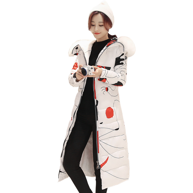 Winter Jacket Women 2017 Fashion Women Parkas Winter Slim Fur Hooded Coat Printing Women  Winter Outwear CC042 winter