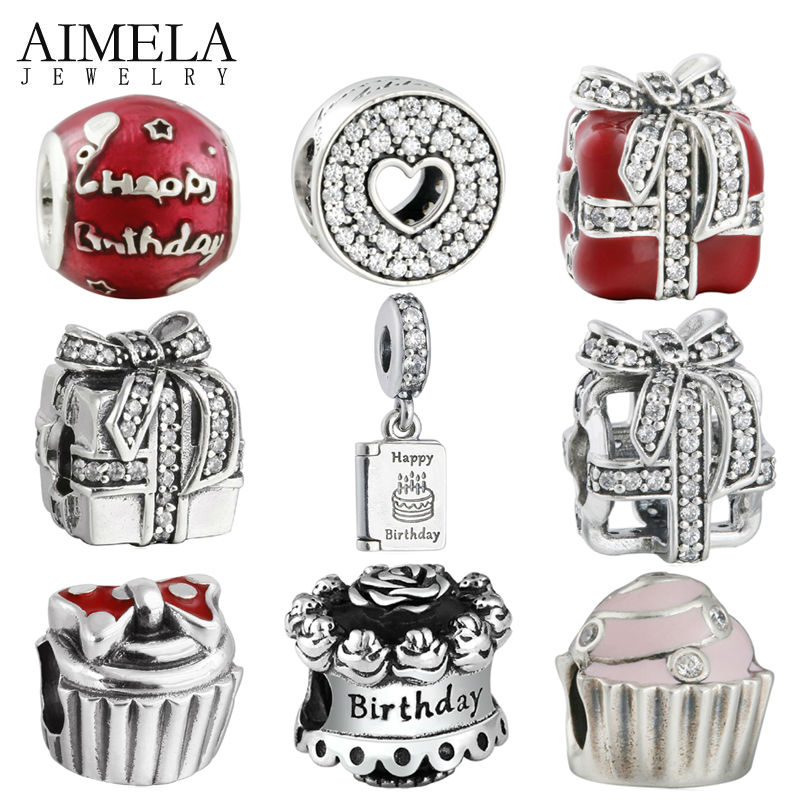 AIMELA Happy Birthday Cake Beads Fit Pandora Charms Bracelet Wishes Gift Box Bead Authentic 925
