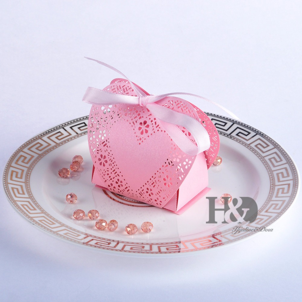 120 PCS Pink Laser Cut Hollow out Love Heart Ribbons Personalized ...