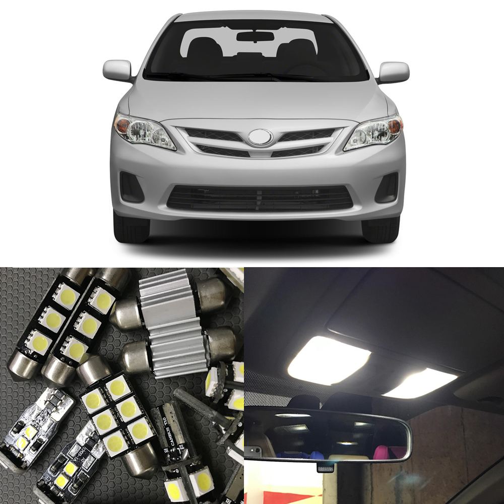 9Pcs Auto Interior LED Lights Bulb Kit Canbus For toyota Corolla 2012-2015 Map Dome Trunk License Plate Light Car light Source car styling 13pcs excellent canbus led bulb interior dome map light kit package for volkswagen vw passat b6 2006 2010
