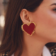 Romad Bohemian Red Heart Charms Stud Earrings For Women Girl Fashion Jewelry Punk Big Accessories