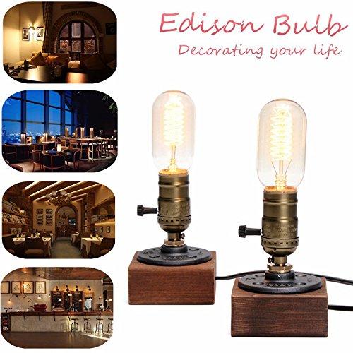 2PACK Loft Vintage E27 Edison Bulb Table Lamp Wood Base Light Dimmer Switch Control Desk Lamps