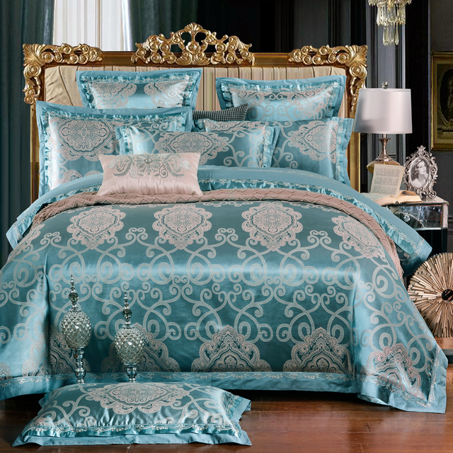 dcfa9e13020 Chinese Wedding style Blue flowers Jacquard bedding 100%cotton Bedding Sets  Silk Duvet Cover Sets Queen King Size