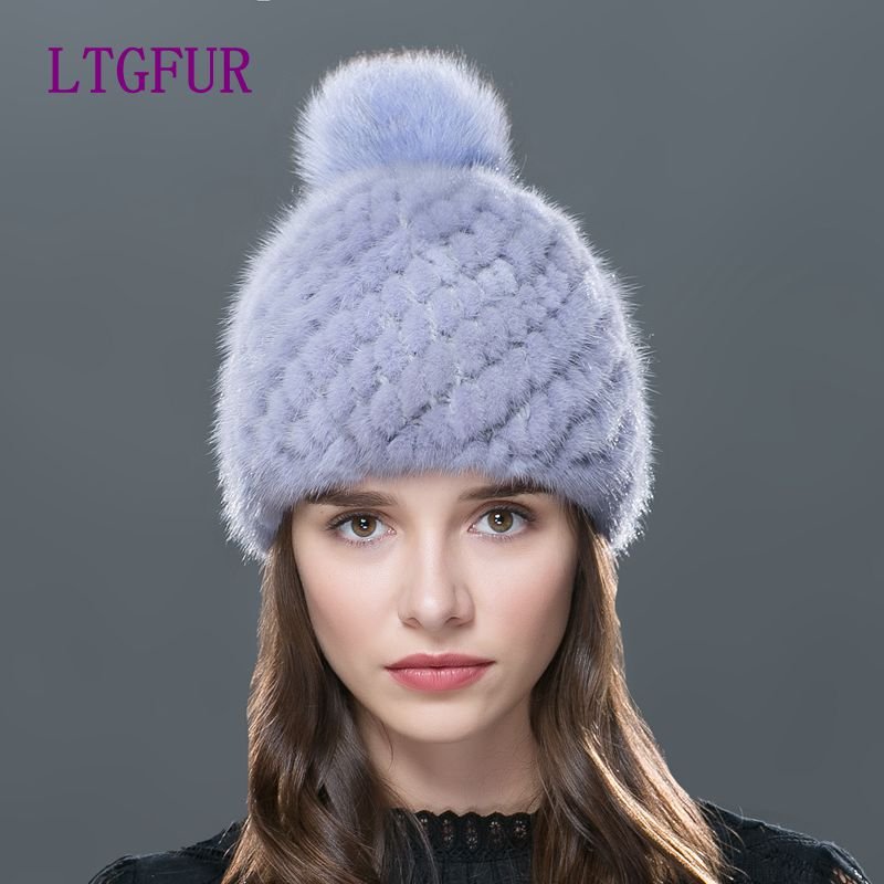 LTGFUR 2017 Hot sale real mink fur hat for winter women's mink point cap hats with fur fox pompons brand new thick female cap