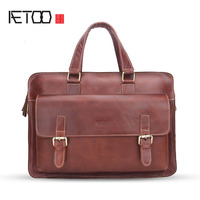 AETOO New men's shoulder Messenger bag leather casual business briefcase fashion laptop bag