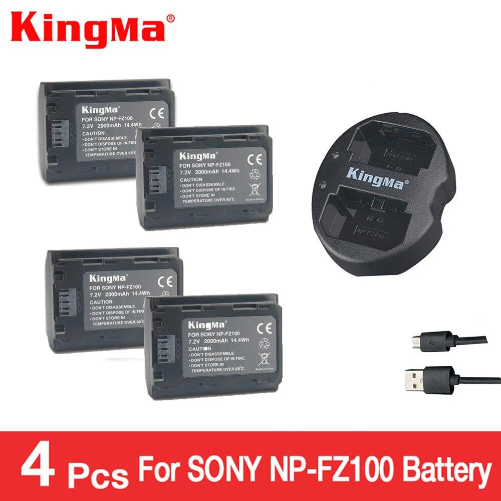 KingMa 4pcs NP-FZ100 Battery+npfz100 NP FZ100 Dual Batteries Charger For Sony Alpha 9 A9 9R A9R 9S A9S A7RIII A7R3 BC-QZ1