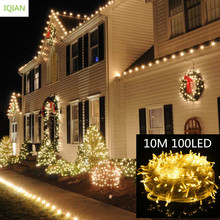 IQIAN Christmas Decorations for Home Led String Lights 10 M 100 Fairy Light Lighting Garland New Year Decoration N