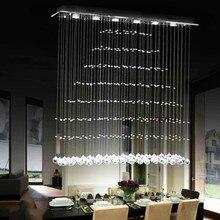 Modern 6-Light Rectangular Crystal Rainfall Flush Mount Fixtures Chandelier Lamp 90-260V G10 free delivery