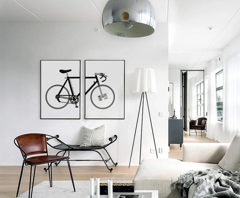 2 piece nordic decoration pictures wall art painting modern abstract bike posters and prints for living