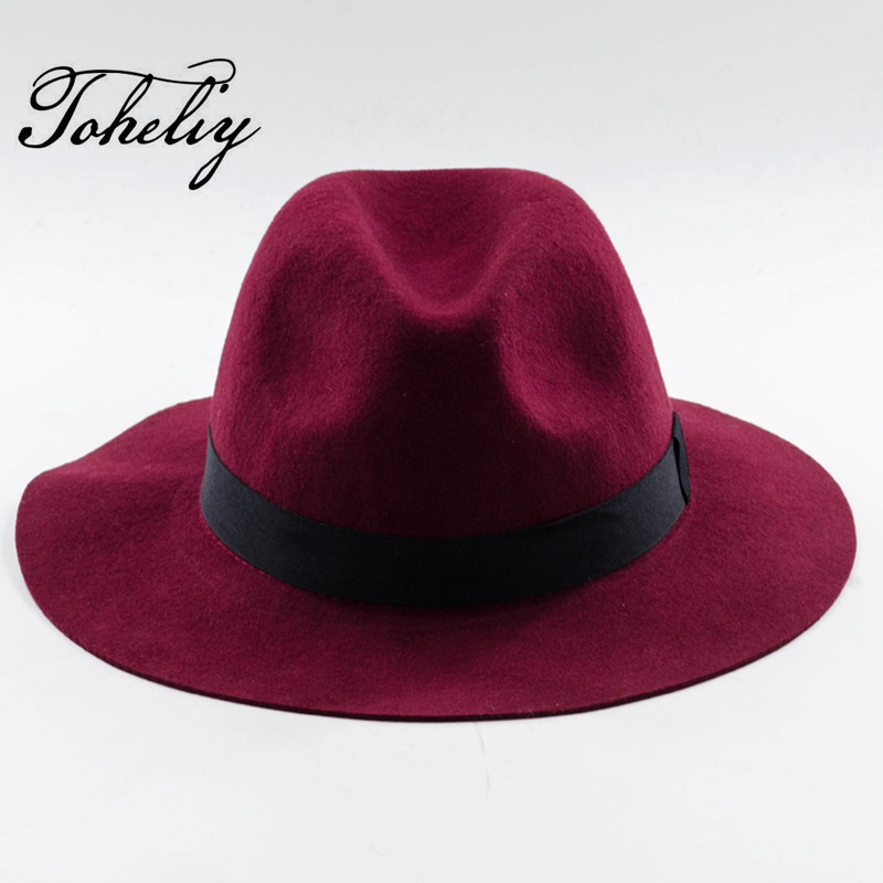 New Autumn Winter Fashion wool Vintage Wide Brim Lace embroidery Pearl bow Fedoras Hats for Women