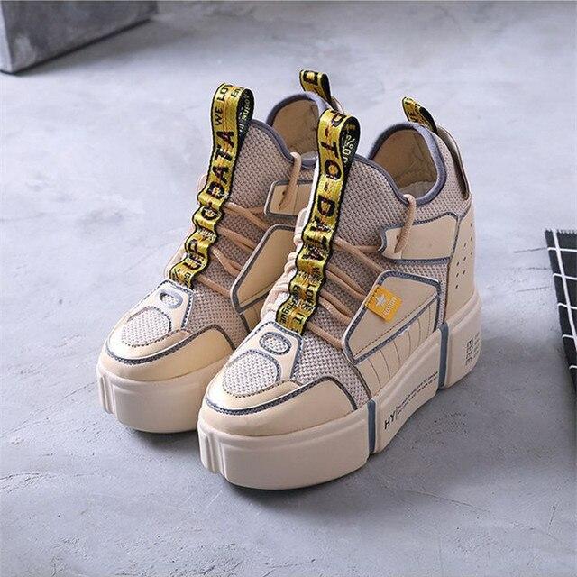 SWYIVY zapatillas de plataforma para mujer otoño 2018 nuevos zapatos  casuales transpirables de mujer aumento de e2dcd1925453