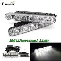 Multi Function 2Pcs Set Led DRL Daytime Running Light Waterproof Car Styling White Flood Spot Lights