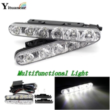 Multi Function 2Pcs/Set Led DRL Daytime Running Light Waterproof Car Styling White Flood & Spot Lights In One Free Shipping free shipping iphcar waterproof dual color special outside led daytime running lights for 2013 cr v