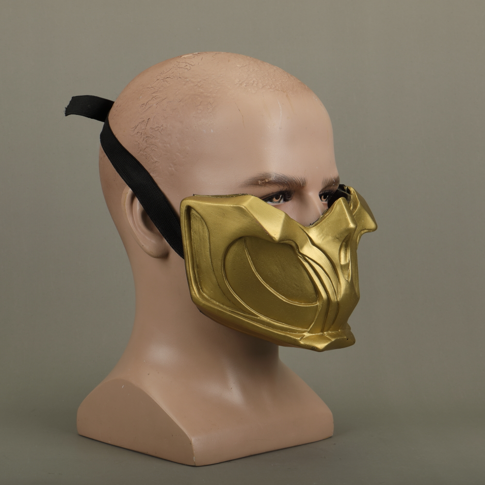 2019 New Mortal Kombat X Scorpion Hanzo Hasashi Sandal Wood Mask Half Face PVC Masks Adult Men Cosplay Costumes Halloween Mask (8)