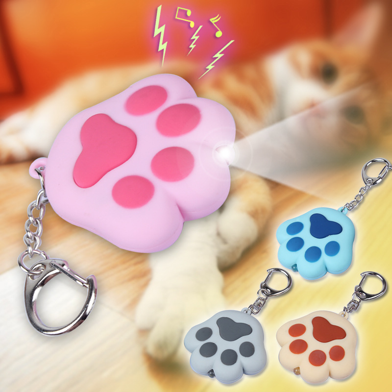 1pcs/lot New Lovely Cute Kawaii Cat Claw Keychains Sound LED Flashlight Key Pendant Gift For Friends Toy Chaveiro Key Ring