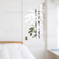 Spring Nature Decorative Tree Mirror Wall Stickers 3D Living Room Bedroom Home Wall Decor Door Tile Refrigerator Sticker R193