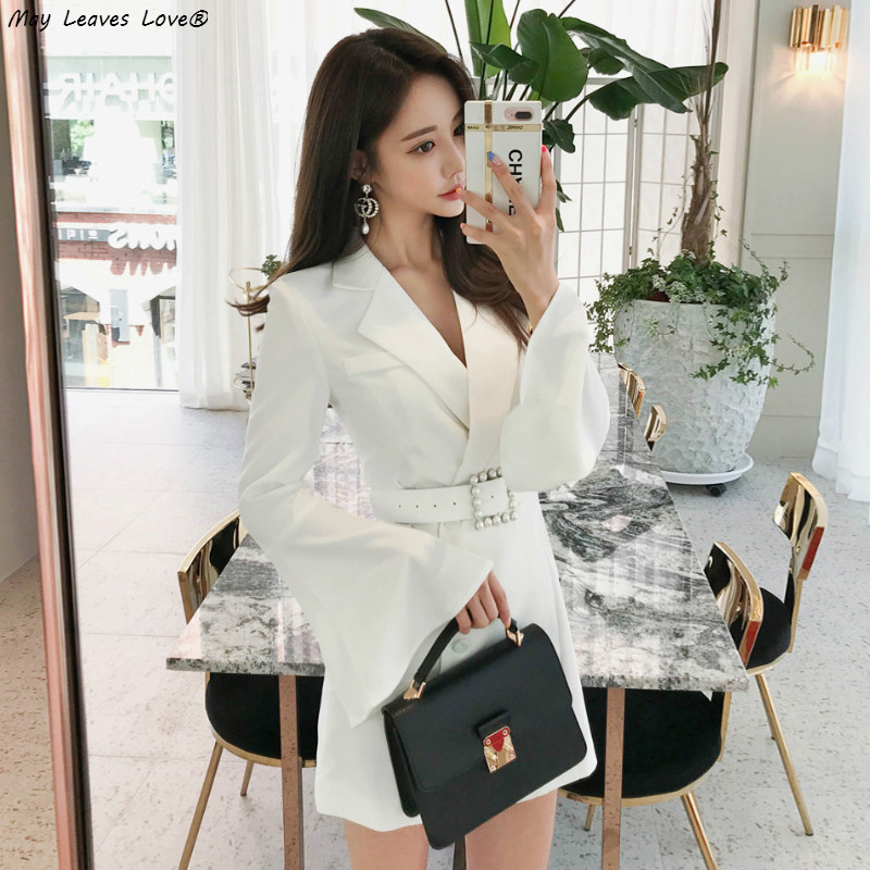 Women's Clothing Affogatoo Sexy White Double Button Belt Blazer Dress Women Deep V Neck Party Long Trench Dress 2018 Fashion Casual Dress Female Fancy Colours