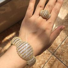 Newness Fashion Luxury Super Boom Flowers AAA Cubic Zirconia Women Party Engagement Width Bracelet Bangle And Ring Set