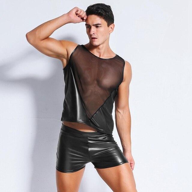 Seksowna męska zabawa lakierowana czarna siatka T-Shirt topy koszulki wyglądające na mokre fetyszowy, lateksowy DS bielizna Catsuit egzotyczna sukienka do klubu kostiumy