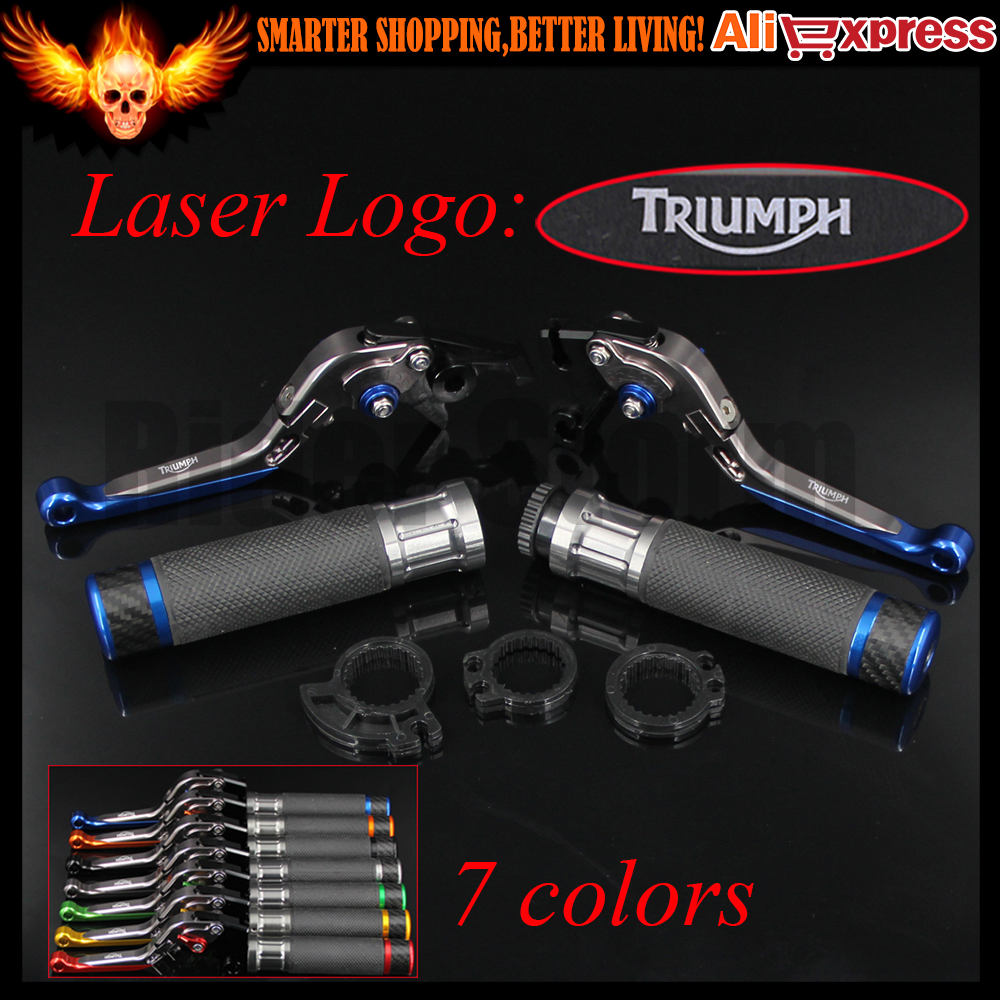 ФОТО 7 Colors Blue+Titanium New CNC Motorcycle Brake Clutch Levers&Handlebar Hand Grips For Triumph THRUXTON Steve McQueen SE 2012