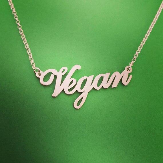 Vegan Jewelry Vegetarian Symbol Silver Plated Letters Vegan Necklace Vegan Lifes
