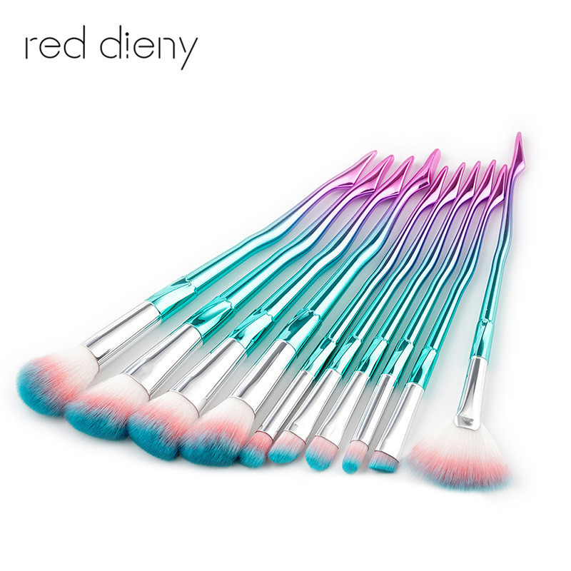 Unicorn Brush pretty Leg Makeup Brushes Set Cosmetic Foundation Powder Blush Eye Shadow Concealer Blending Brush Beauty Tools professional 10pcs set orange color makeup stick makeup brush set foundation fan brush eye shadow brush beauty tools