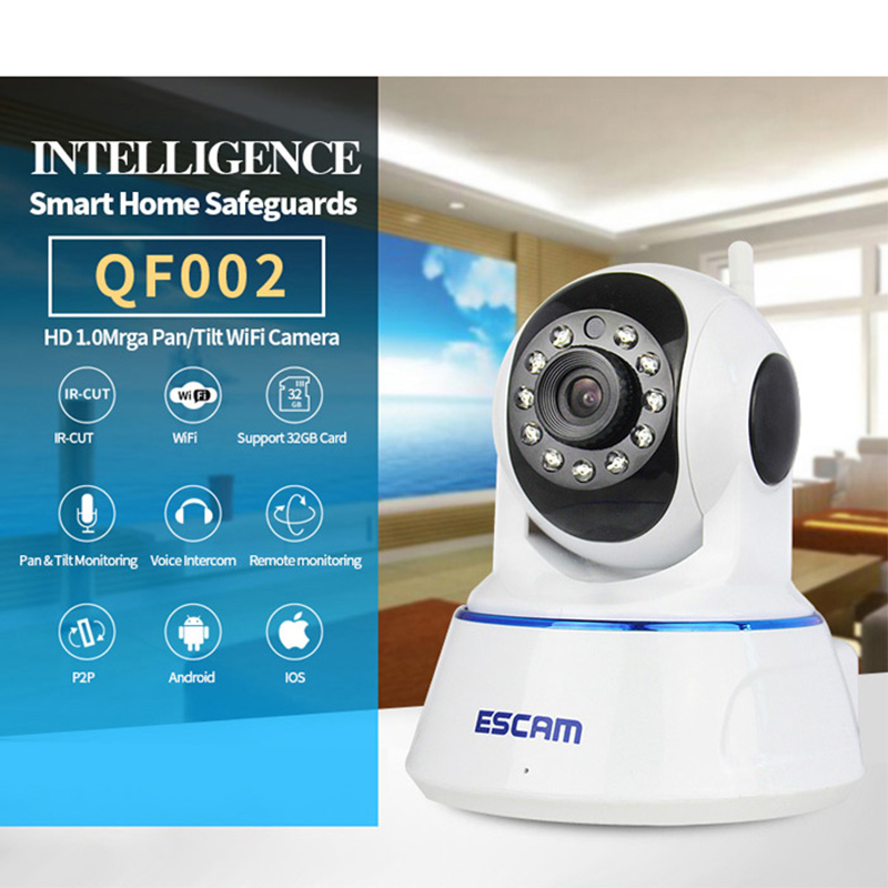 Home Security ESCAM HD Wireless IP Camera P2P 720P Wifi Video Surveillance Camera Indoor WIFI CCTV Infrared Camera QF002