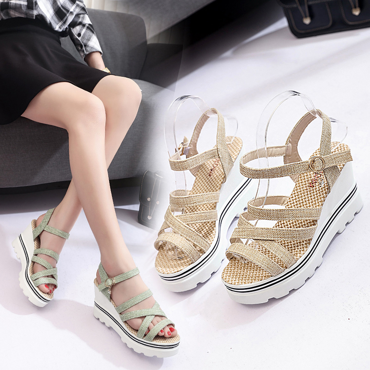 ФОТО  the new summer 2017 slope with fish mouth shoes sandals Rome muffin thick bottom female student shoes high heels shoes