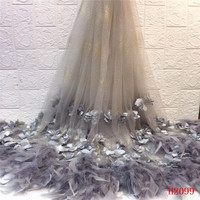 Silver Grey Latest Nigeria Embroidered French Net Lace 3d Flowers Wedding Tulle Fabric Feather Dress Mesh Lace Fabric HX2099