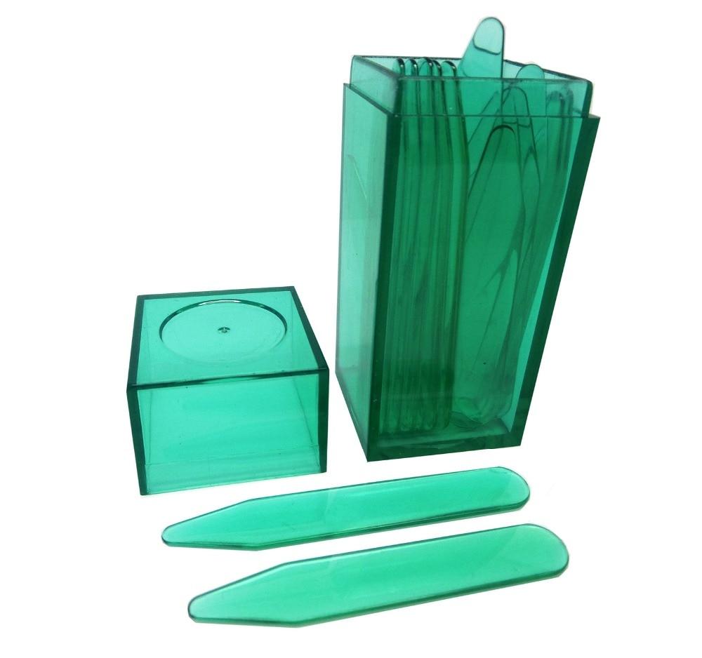 SHANH ZUN 10 Pcs Green Plastic Collar Stays Bones Stiffeners 5 Sizes Mixed In Green Plastic Bottle