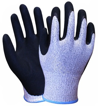 цена на 24 Pairs HPPE NBR Sandy Finished Safety Glove 13 Gauge HPPE Fiberglass Nitrile Anti Cut Resistant Work Glove