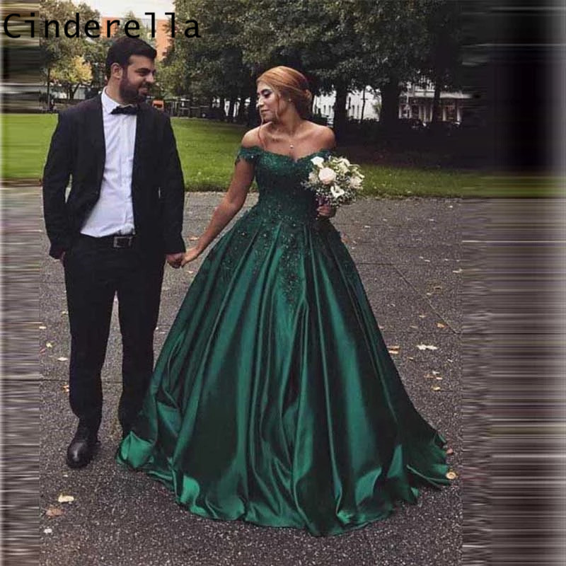 Cinderella Green V-Neck Off The Shouder Ball Gown Lace Applique Crystal Beaded Satin   Prom     Dresses   Lace Party Gowns For   Prom