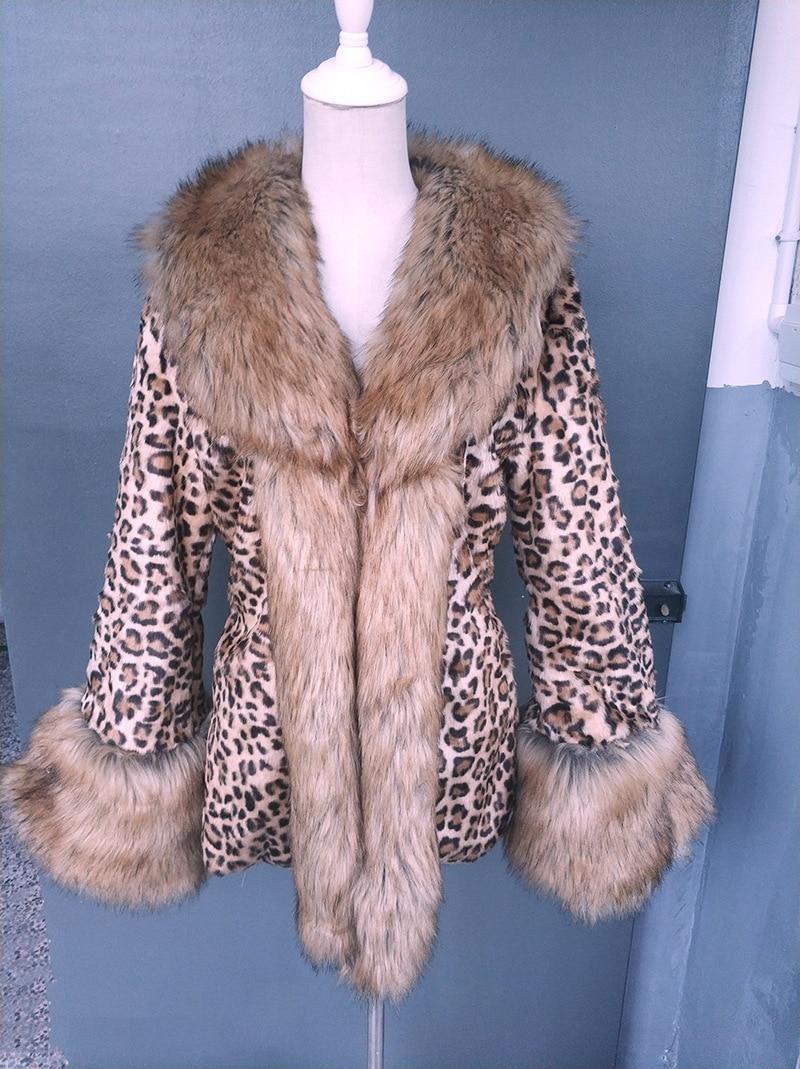 SC267 S 3XL Winter Warm Plus Size Open Stitch Slim Plush Coat 2018 Women Faux Raccoon Fur Leopard Cardigan Thick Long Fur Trench