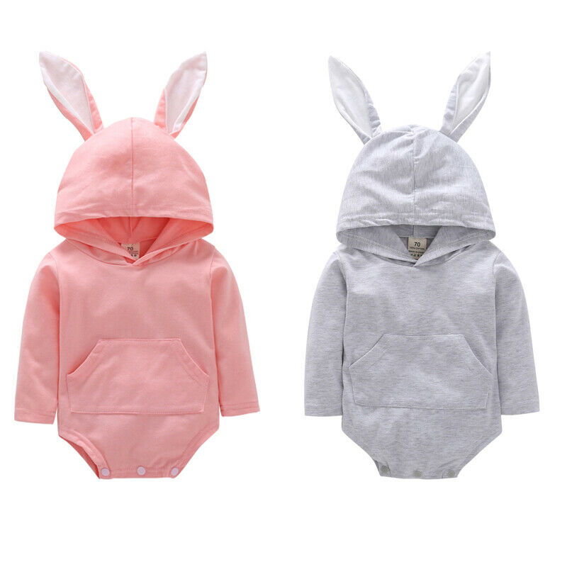 Newborn Infant Baby Girl Boys Easter Bunny Hooded  Bodysuit Outfit Sunsuit