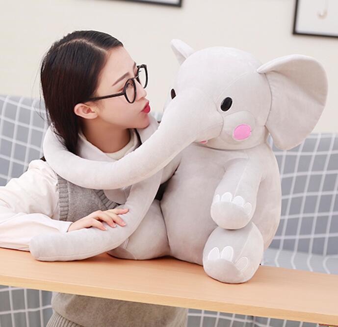 1 pc 55 cm dessin animé long nez éléphant en peluche poupée pacifier sommeil peluche jouet enfants décoration de la maison festival cadeau