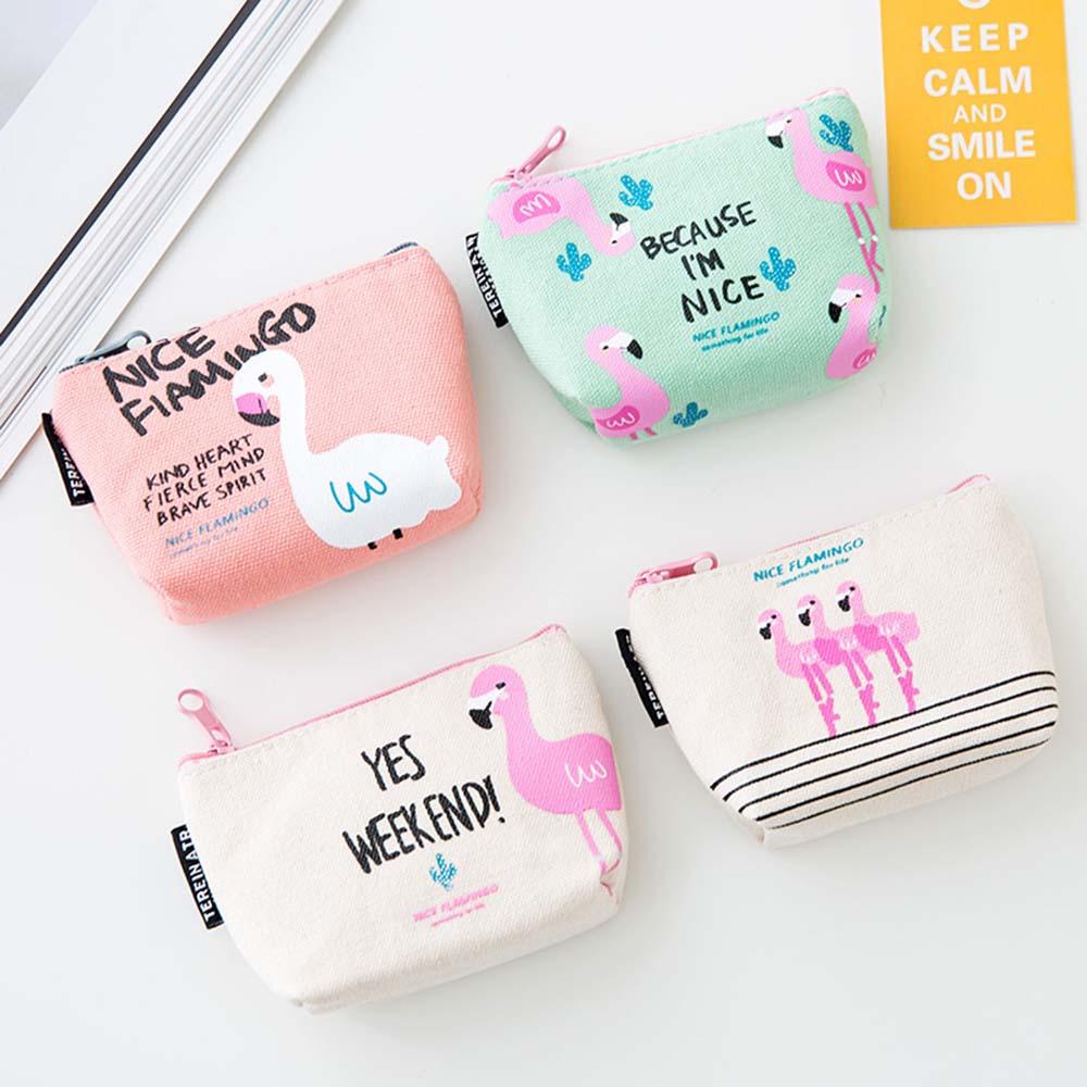Fashion Flamingo Canvas Small Coin Purses Women Wallet Ladies Change Purse Child Girl Pink Bird Mini Zipper Pocket Money Bags