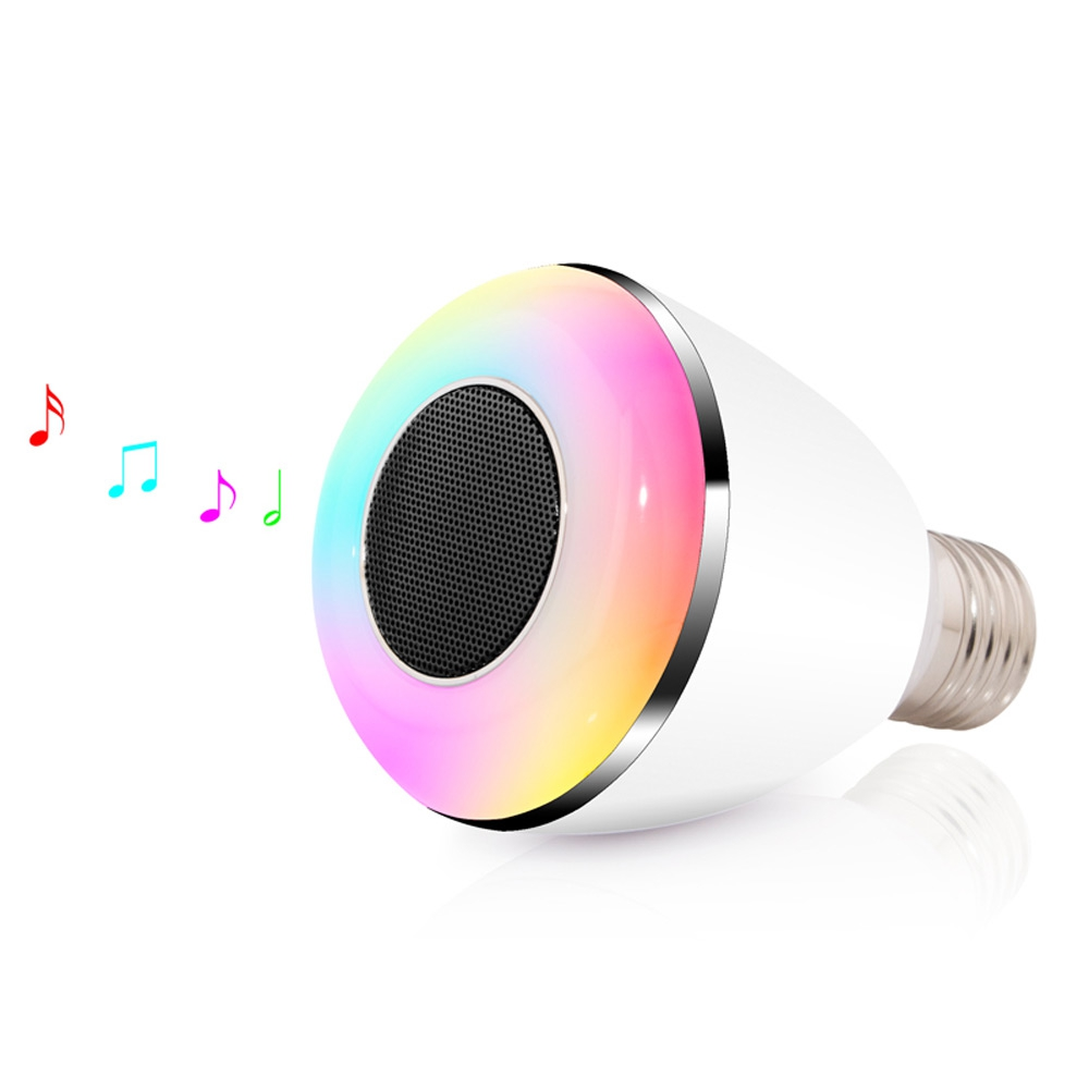 2017 New E27 LED Light Wireless Music Color Changing LED Bulb with Speaker Smart LED Lamp Bluetooth App Control Change LED Light app controlled smart wake up light table lamp with bluetooth speaker