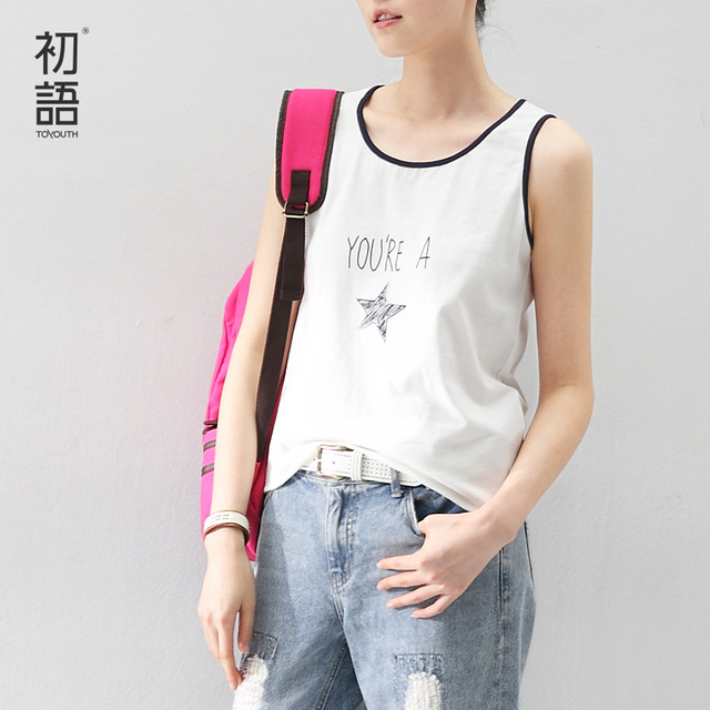 Toyouth 2017 New Arrival Women Tank Tops O-Neck Sleeveless Letter Print Cotton Casual Tank Tops Ladies Camis